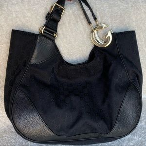 HUGE GUCCI GG Black Jacquard Leather Handbag
